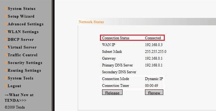 Окно статуса интернет-соединения роутера w311r