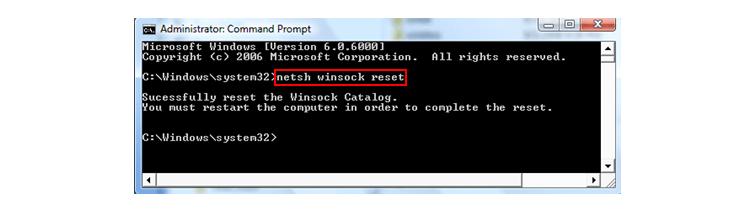 сброс параметров winsock