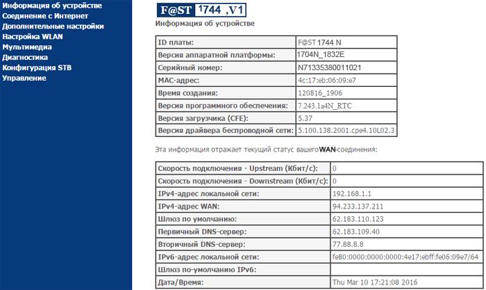 f@st 1744 информация об устройстве