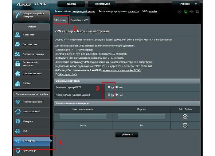 asus rt n12 настройка vpn сервера