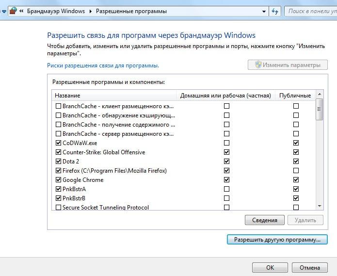 как сделать исключение в брандмауэр windows 7