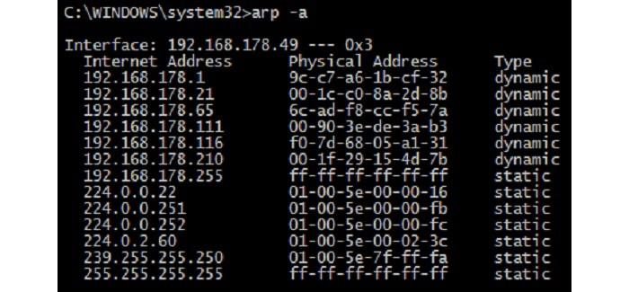 как узнать mac-адрес по адресу ip