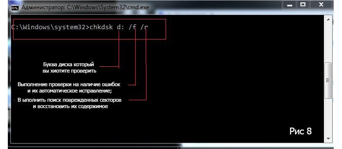 как проверить жесткий диск на ошибки и битые сектора windows 7 через cmd