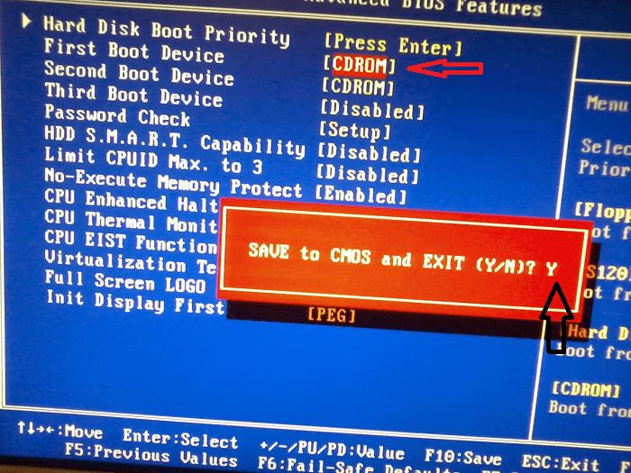 как переустановить windows 7 через биос