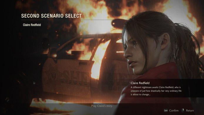 Выбор сценария Resident Evil