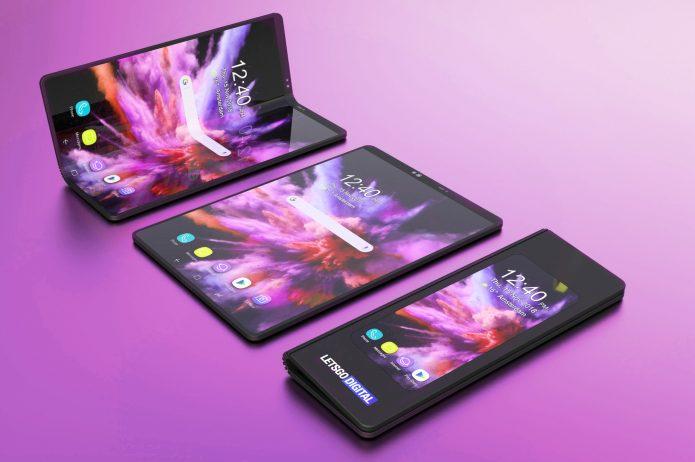 Смартфон Galaxy Fold в раскрытом и сложенном виде