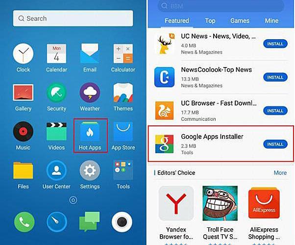 Hot Apps в меню телефона