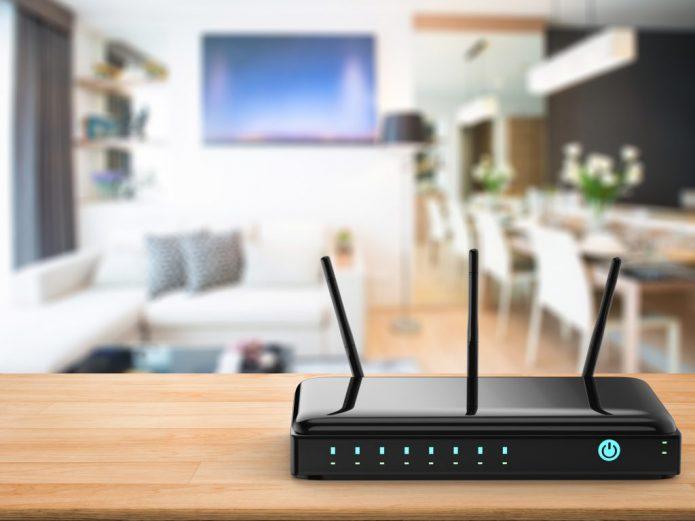 W-Fi роутер в помещении с телевизором