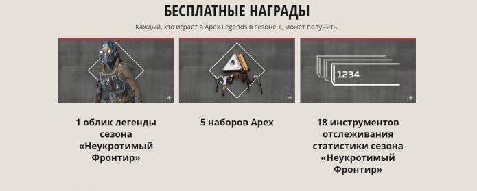 Беслатные награды сезона в Apex Legengs