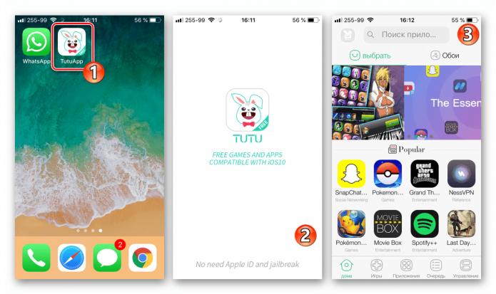 Интерфейс программы Tutu