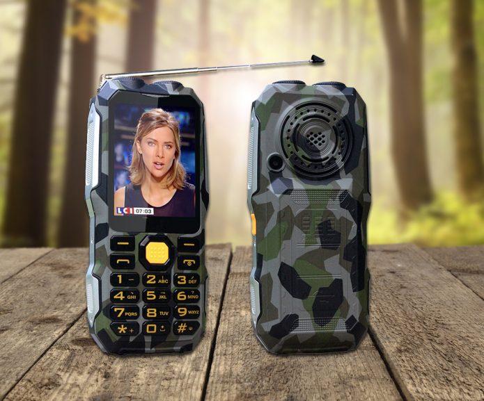 Кнопочный телефон DBEIF D2016 с антенной для приёма аналогового ТВ-сигнала