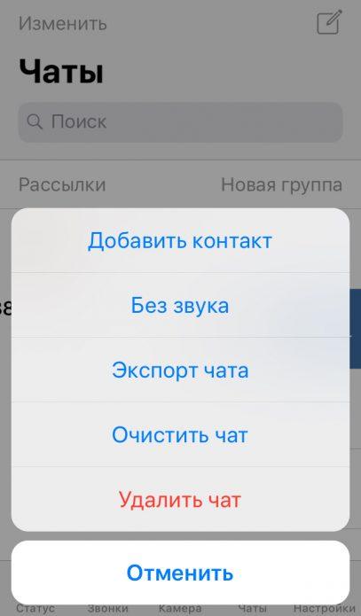 Удалить чат iOS