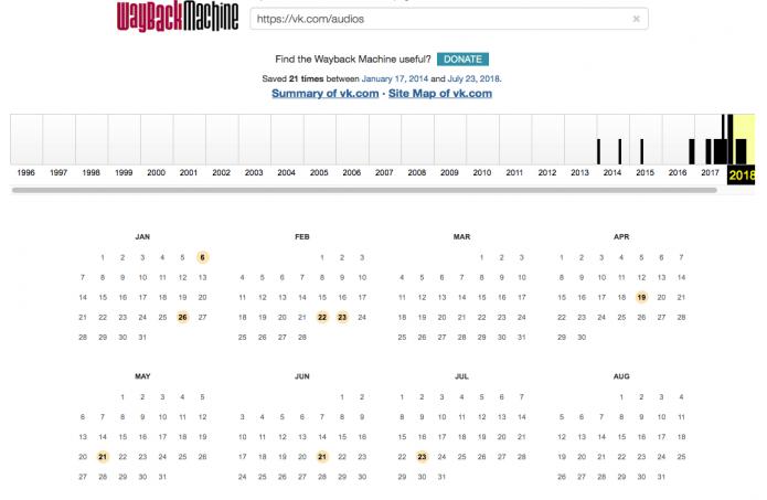Календарь сохранённых вариантов страницы