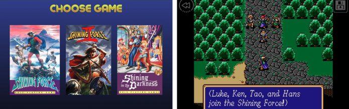 Меню выбора версии и игровой процесс Shining Force II