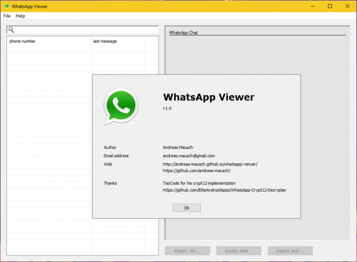 Окно программы WhatsApp Viewer в Windows