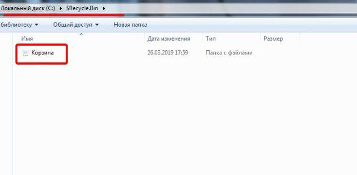 Папка C:\$RECYCLE.BIN на ОС Windows