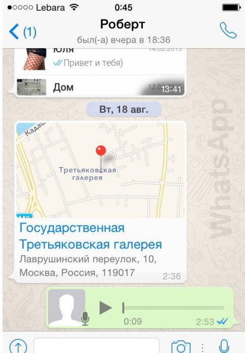 Интерфейс WhatsApp