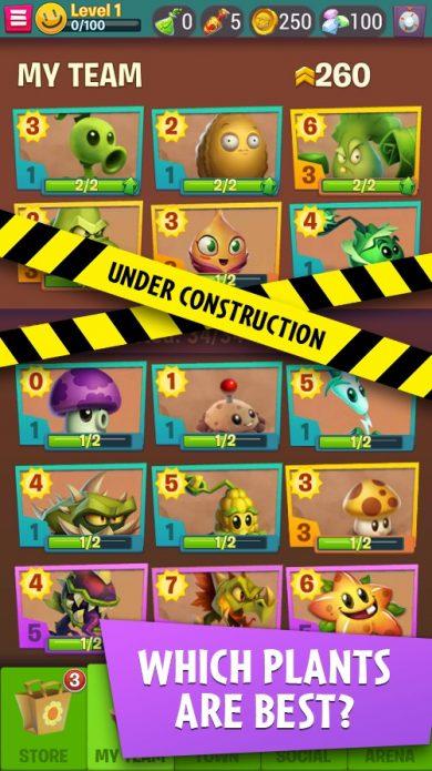 Интерфейс Plants vs Zombies 3