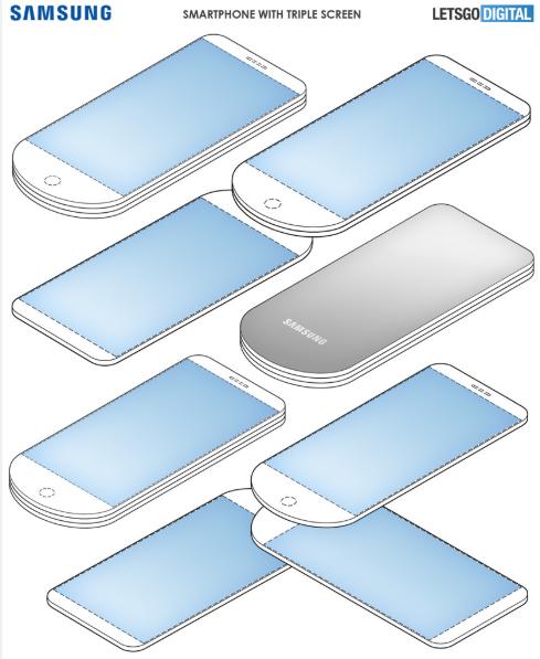схема нового телефона веера от Samsung