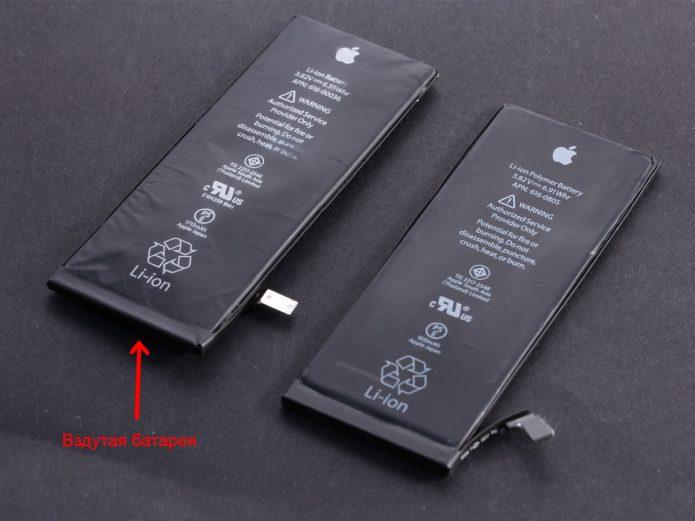 Как выглядить вздувшаяся батарея