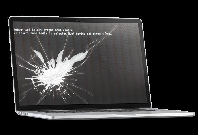 Ноутбук с треснувшим экраном