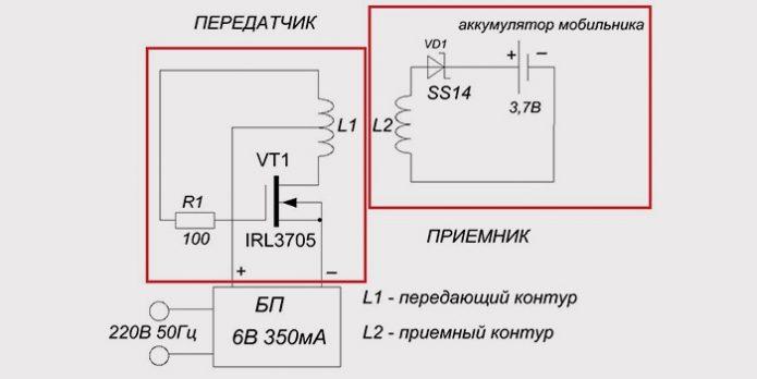 Схема беспроводного зарядного устройства