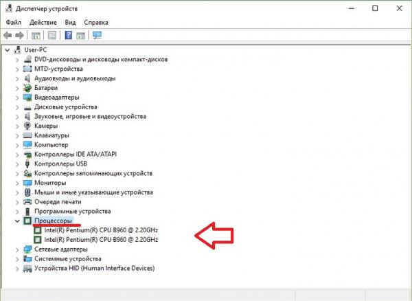 Скриншот окна «Диспетчер устройств» на ноутбуке