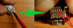 Вид обжатого и не обжатого контакта